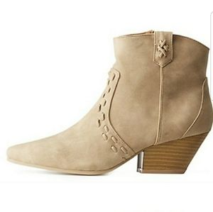 Vegan Whip Sticth Ankle Booties Stacked Heel